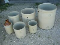 BUNCH OF OLD MEDALTA CROCKS $20-$40 EA. 1 to 10 GALLON SIZE