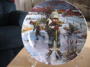 Dreams of Glory - Collectible Plate - Boys Pond Shinny Hockey