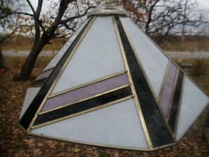 "Vintage 1980's Retro Stain ""Stained Glass Style"" Swag Light"