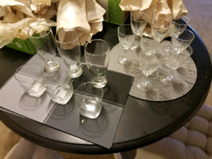 Assorted drinking glasses