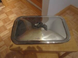 SILVER PLATED CASSEROLE DISH AND SERVING PLATTER