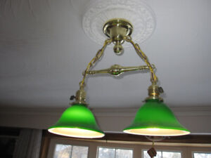 ANTIQUE VINTAGE CEILING FIXTURE WITH PAIR OF GREEN GLASS SHADES