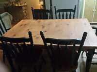 """Solid Pine Table, 1 1/4 Top, Two 12"""" Leafs, Six Chairs"""