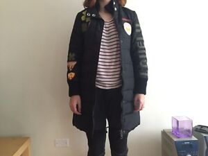 Miss Sixty Winter Coat Black To the Knee Full of Patches