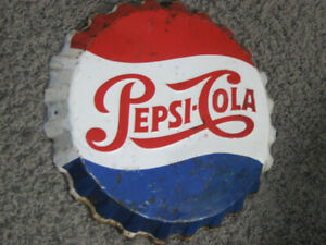 RARE ORIGINAL 1950'S PEPSI COLA 3-D TIN CAP SIGN!  NICE SHAPE!