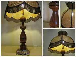 Vintage Wooden Table Lamp with Rattan Shade Kitchener / Waterloo Kitchener Area image 2