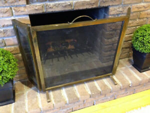 ~ Beautiful Vintage Brass Mirror and Fire Screen Set ~