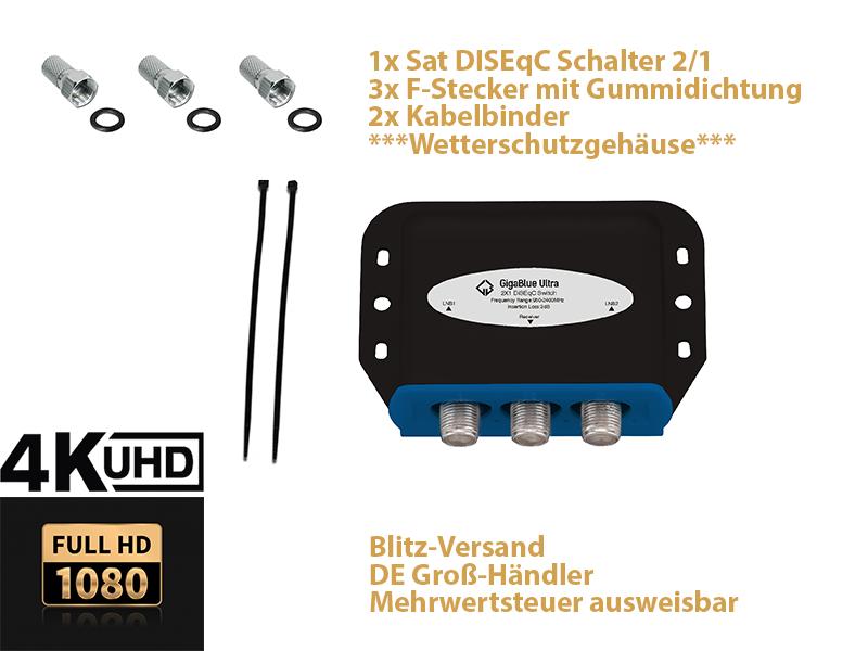 GigaBlue Ultra DiSEqC Schalter 2/1 Wetterschutz SAT Umschalter Switch LNB 4K UHD