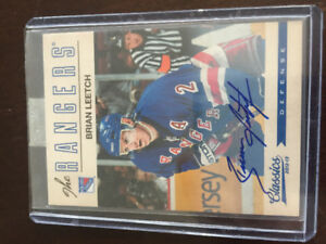 Certified Brian Leetch and Mike Richter autograph hockey cards