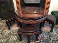 Glass top hand carved chinese table