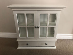 Glass wall mount cabinet - white