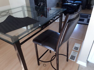 Glass dining table pub height