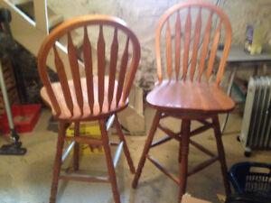 2 Oak Swivel Chairs for sale