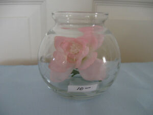 ADORABLE VINTAGE CLEAR GLASS ROSE BOWL with PINK SILK ROSE