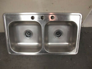 Double drop in Stainless kitchen sink, good condition, clean