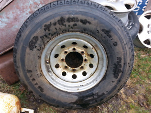 One trailer tire for sale.