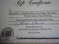 Gift certificate for dog  boarding ,etc,