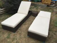 2 x Rattan Sunloungers, cushions, storage bag & mini table (no glass)