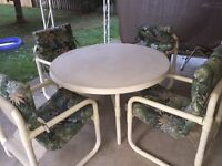 Patio set - 4 chairs, table and 4 thick cushions