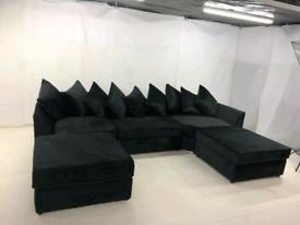 Black Plush Velvet Elizabeth U-Shape Corner Sofa