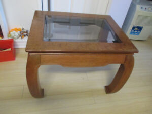 Vintage Glass & Burl Walnut Top End Table