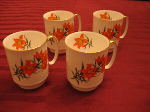 Four Royal Windsor Prairie Lily Mugs (with gold trim) - $30