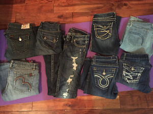 Assorted brand name jeans