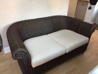 Gorgeous Wratten conservatory garden furniture two seater sofa in cream and brown