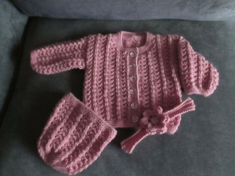 Hand  knitted  baby girl's  Cardigan