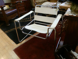 Pearl leather and Chrome Wassily style retro chair