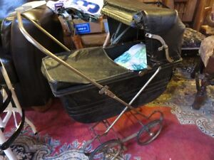 1920'S BLACK BABY CARRAGE EXCELLENT CONDITION asking $65