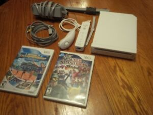 Wii System, Super Smash, controller+chuck, all cables.