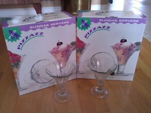 Set of 8 glass sundae servers ice cream serving cups New in box