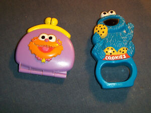 2 VINTAGE SESAME STREET TOY RATTLES-COOKIE MONSTER-HENSEN-1990S