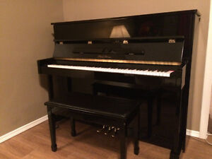 Beautiful Black Upright Piano with bench