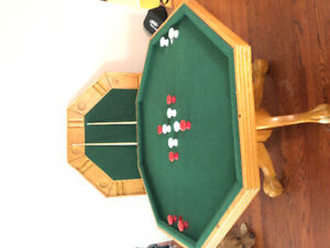 Bumper pool table + poker side with two cues