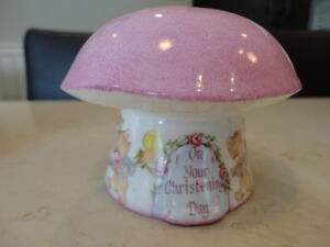 New Baby Christening Fine Bone China Pink Mushroom Coin Bank Kitchener / Waterloo Kitchener Area image 2
