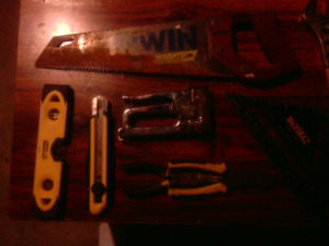 Basic hand tools (all Stanley and MasterCraft), and Husky bag