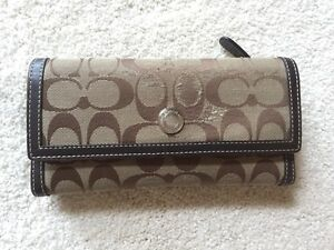 Authentic brown COACH wallet with leather interior