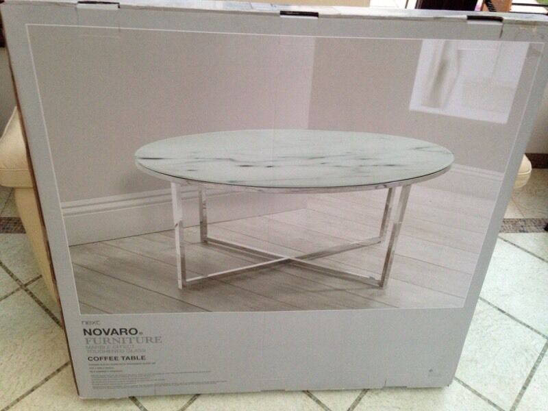 Next Novaro Marble Effect Toughened Glass Coffee Table
