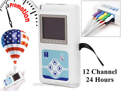 Dynamic 24h 12-channel Ecg Recorder Monitor Holter System Software Analyzerusa