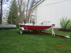 12 ft Sear boat , motor, and trailer
