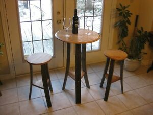 Whiskey Barrel Stave Table Set
