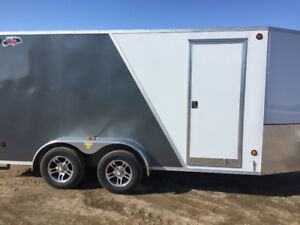 2018 CJay 7x14 Enclosed with E-Tracking (White/Grey) - 4071