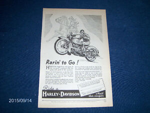 RARE 1934 HARLEY DAVIDSON MOTORCYCLE FULL PAGE ADVERTISEMENT!