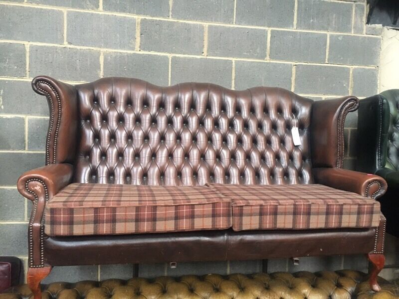 brown leather chesterfield high back sofa with tartan cushions uk delivery in armley west. Black Bedroom Furniture Sets. Home Design Ideas