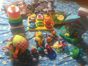 Baby toy lot with rattles snuggle blankets tethers vibrating toy