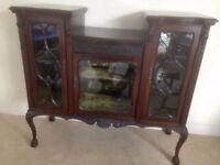 Antique furniture: display cabinet - dark mahogany colour