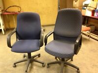2 blue office chairs.