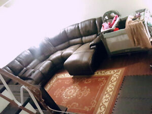 Sectionnel 6 pièces./ 6-Piece Leather-Look Fabric Sectional